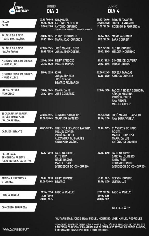 Caixa Ribeira  _ Horários dos concertos da 2ª edição _fado _ 2016