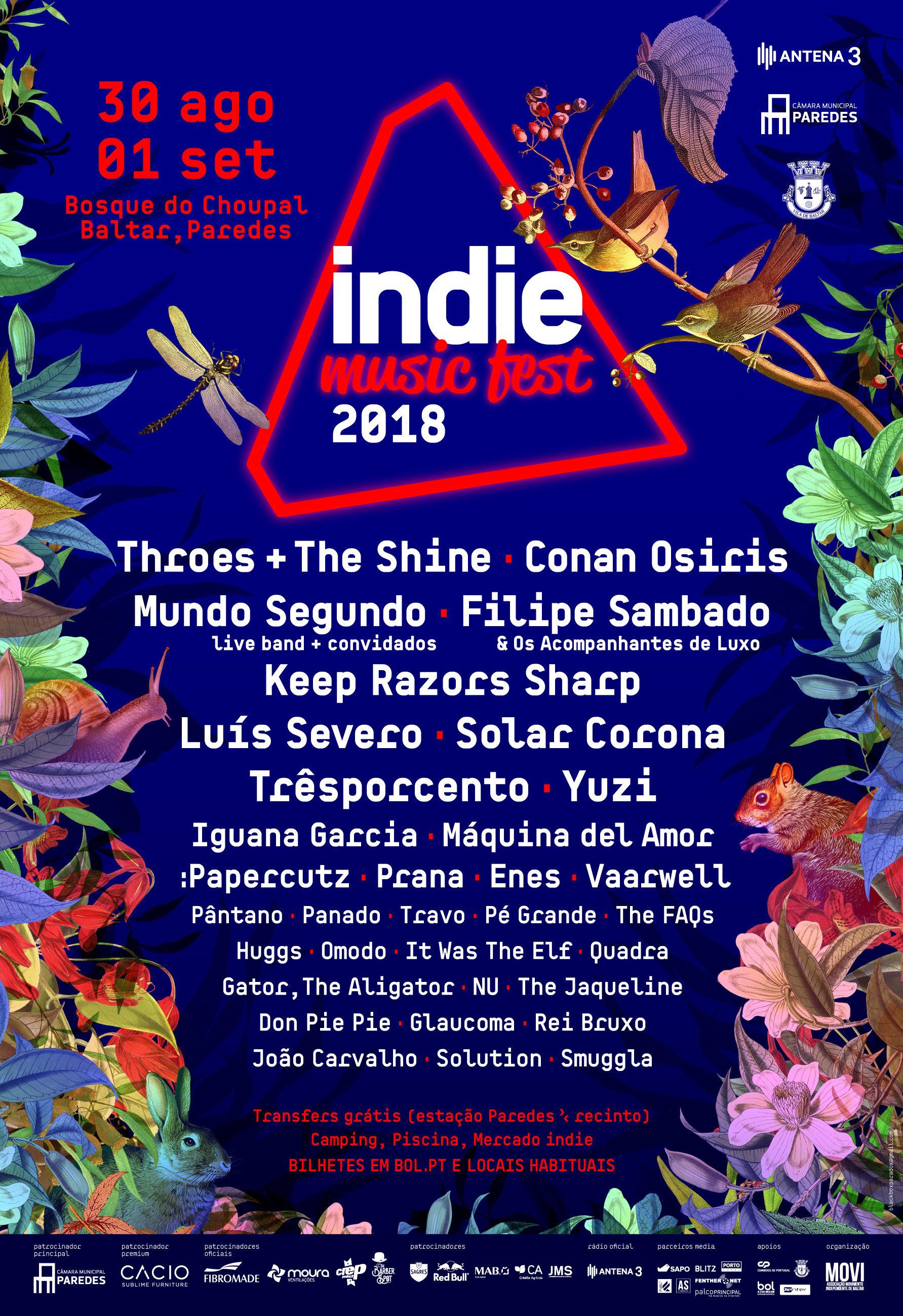 Cartaz Indie Music Fest 2018 - bandas - alinhamento