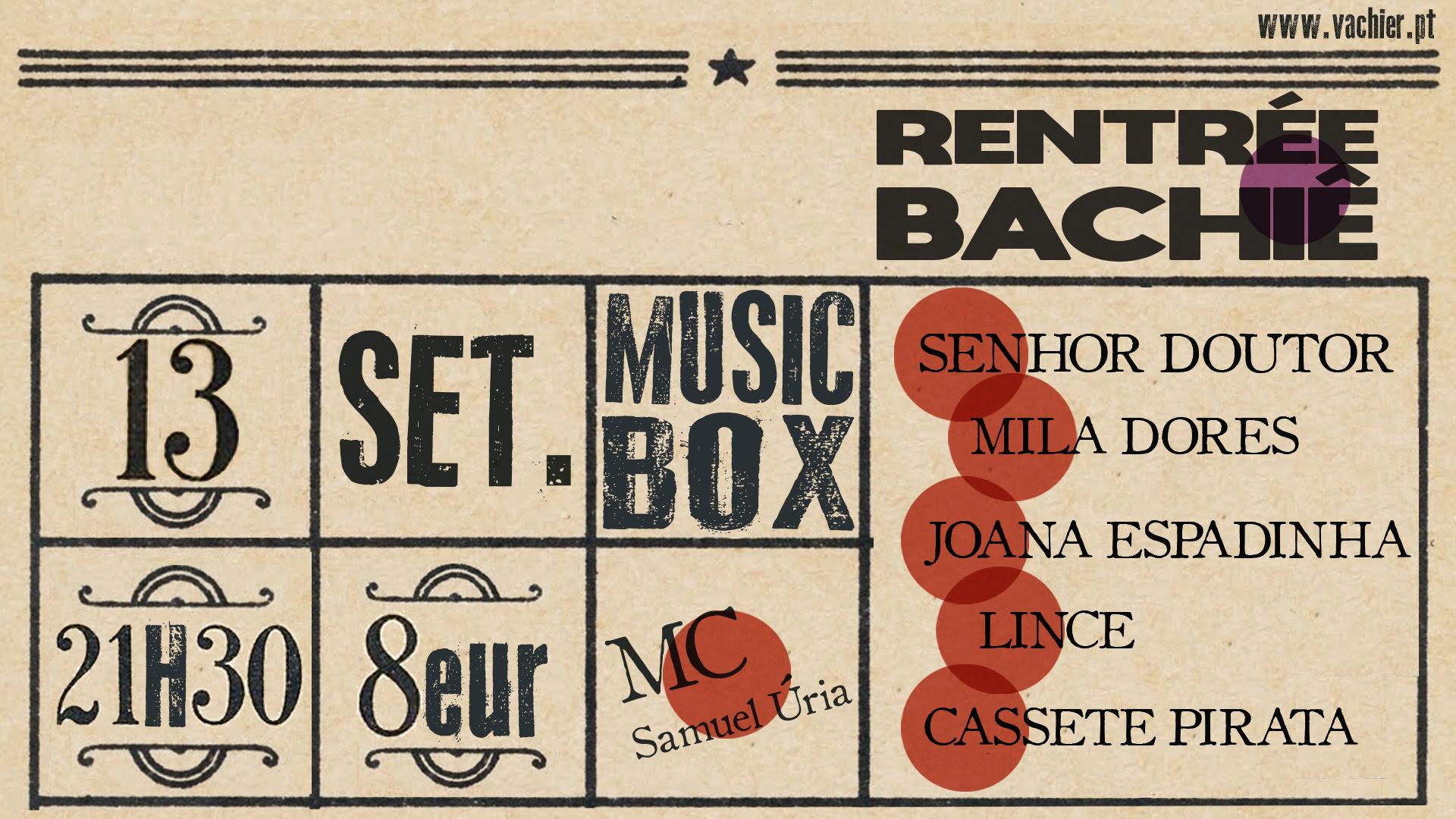 Cartaz Rentrée Bachiê no Musicbox Lisboa
