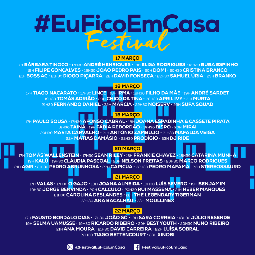 @FestivalEuFicoEmCasa - cartaz - horários - programa - artistas - bandas